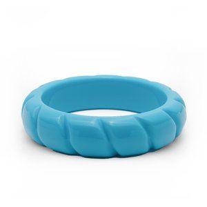 Teal bright blue croissant twist bangle bracelet